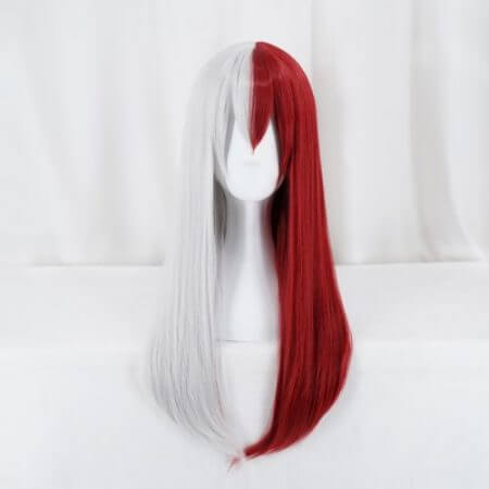 My Hero Academia Todoroki Shoto Women Long Wig Cosplay Costume Boku no Hero Academia Red and White Hair Halloween Party Wigs