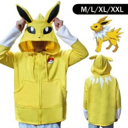 Halloween Costume Anime Pokemon Eevee Hoodies Sweatshirts Cosplay Jackets Spring/Autumn/Winter Coat for Men & Women Outdoor Wear 2