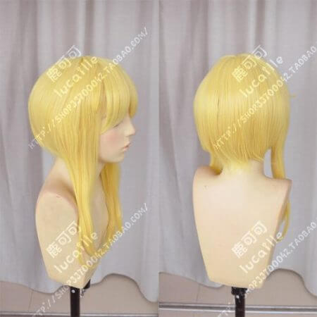 Kakegurui Mary Saotome Meari Blonde Ponytail Hair Heat Resistant Cosplay Costume Wig + Silk Ribbon + Wig Cap 4