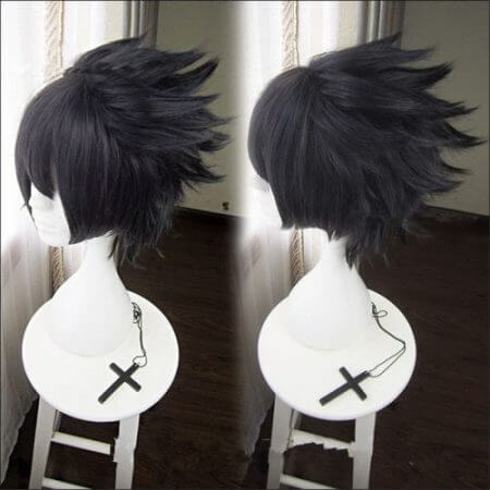 Classic Anime NARUTO Uchiha Sasuke Cosplay Props Wig Men Soaring Black Hair Cosplay Wig Halloween Party Accessories Hair