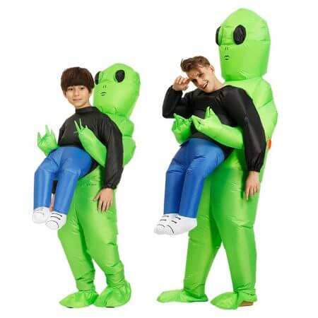 New Purim Scary Green Inflatable Alien costume Cosplay Mascot Inflatable Monster suit Party Halloween Costume for Kids Adult 1