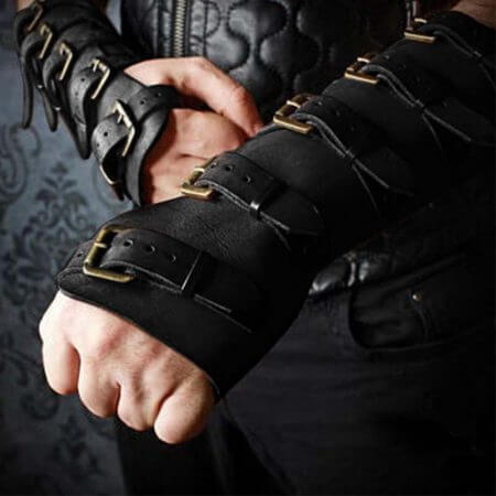 Adult Men Medieval Warrior Larp Knight leather Arm Bracer with Buckle Armor Rivet Steampunk Archer Gauntlet Cosplay Costume Gear 4