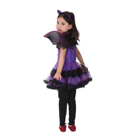 90-160cm Girls Halloween Purple Bat Vampire Princess Dress Wing Headband Cosplay Costume Kids Sets Scary Clown Witch Clothes 3