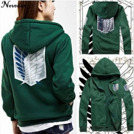 Novedan Anime Attack On Titan Cosplay Costumes Hoodie Green Black Scouting Legion Hooded Jacket For Women Men