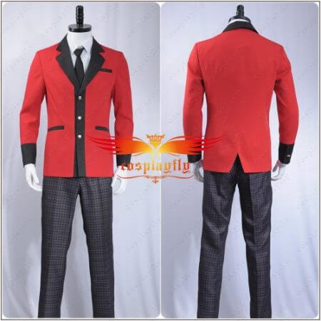 Kakegurui: Compulsive Gambler Manyuuda Kaede Suzui Ryota Cosplay Costume Custom Men Uniform Red Jacket Printed Pants Shirt Tie 1