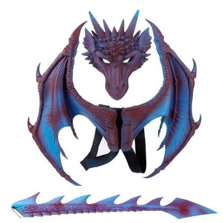 Animal Cospty Dragon Costume Purim Christmas Gift Carnival Party Kids Cosplay Set Wing and Tail Children's day faucet Costume 3