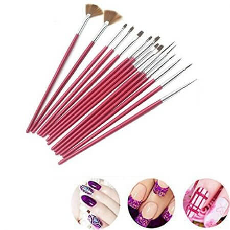 15PCS Face Body Paint Brushes With Henna Stencils Set Professional Nylon Hair Painting Nail Brush For Body Art Tattoo Templates 5