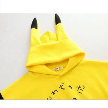 Szblaze Anime Pokemon Pikachu Print velvet Cotton Hoodies with Long Ears Kawaii Girls Cute  Pullovers Women Cotton Cosplay Top 4