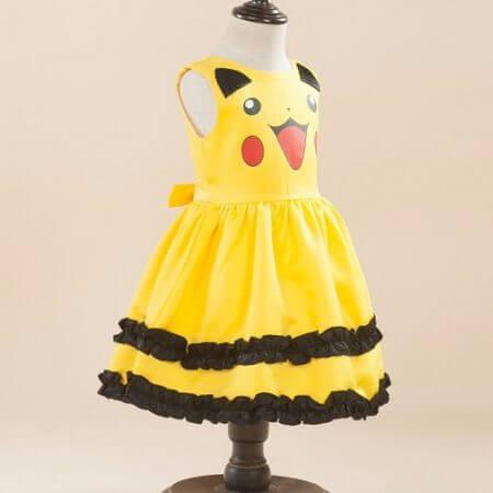 Girls Pikachu costume Cute Ball Gown Dress Kids Child Lovely Dress Costume Anime Cosplay Pokemon Go Costume Birthday Party Dress 3