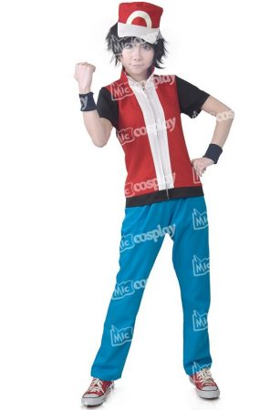 Anime Game Trainer Red Cosplay Costume With Hat And Wristguards Included - Ash Ketchum Cosplay Outfit 1