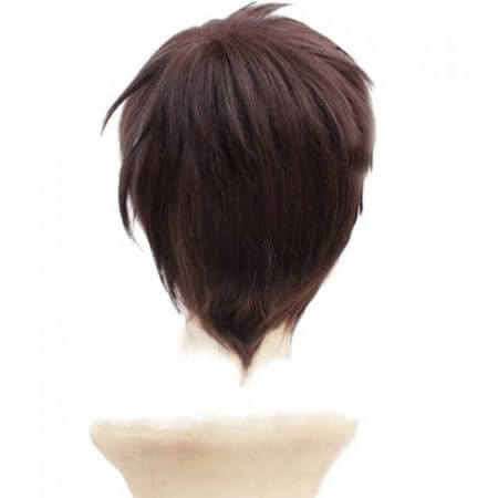 Attack On Titan Eren Jaeger Dark Brown Men's Short Layered High Temperature Fiber Synthetic Cosplay Wig +Free Wig Cap 1