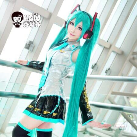 HSIU High Quality VOCALOID Cosplay Wig Hatsune Miku Costume Play Wigs Halloween party Anime Game Hair 150cm  Aquamarine wig 2