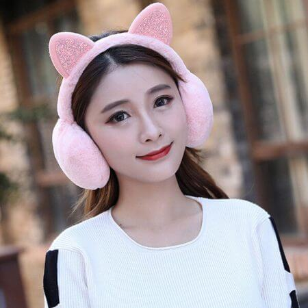 Winter Autumn Warm Faux Fur Earmuffs Cute Cat Ear Earflap Plush Earmuff for Girls Ladies Women Hairbands Rhinestone Ear Muffs 5