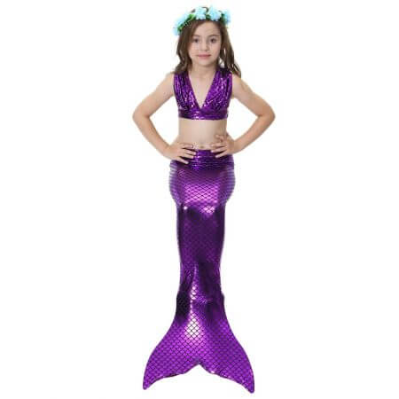 Swimmable Children Mermaid Tails With Monofin Fin Bikinis Set Girls Kids Swimsuit Mermaid Tail Cosplay Costume for Girl Swimming 4