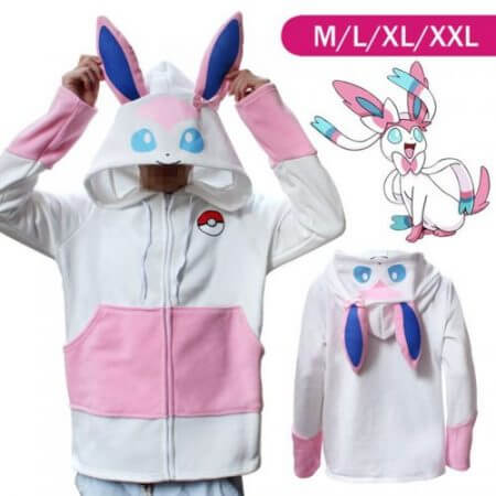 Halloween Costume Anime Pokemon Eevee Hoodies Sweatshirts Cosplay Jackets Spring/Autumn/Winter Coat for Men & Women Outdoor Wear 3