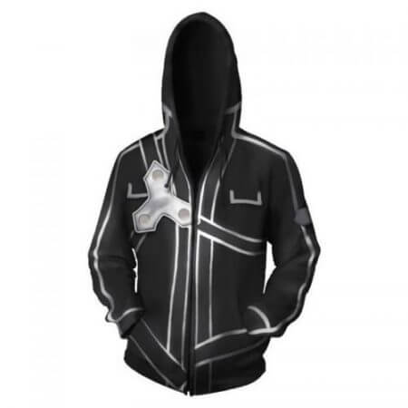 Anime Sword Art Online Hooded Sweater Cosplay Costume Kirigaya Kazuto Kirito Hoodies Sweatshirt Zipper Jacket Coat For Men Women 3