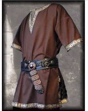 Adult Men Medieval Knight Warrior Costume Green Tunic Clothing Norman Chevalier Braid Viking Pirate Saxon LARP Top Shirt For Men 3
