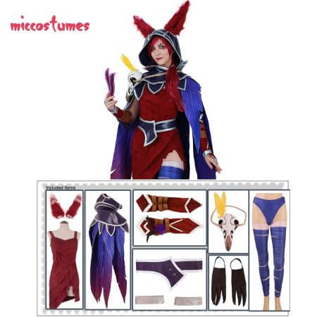 Xayah Cosplay Costume Woman The Rebel Halloween Outfit with Ears, Bird feet covers and Skull decoration 2