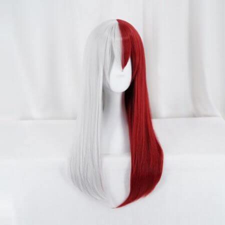 My Hero Academia Todoroki Shoto Women Long Wig Cosplay Costume Boku no Hero Academia Red and White Hair Halloween Party Wigs 3