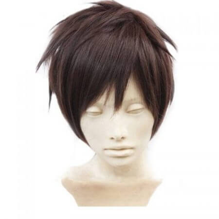 Attack On Titan Eren Jaeger Dark Brown Men's Short Layered High Temperature Fiber Synthetic Cosplay Wig +Free Wig Cap