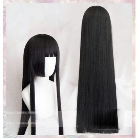 100cm Kakegurui Yumeko Jabami Cosplay Wigs Black Straight Heat Resistant Synthetic Hair Perucas Cosplay Wig