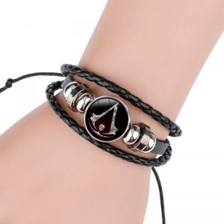 Fashion Assassins Creed Bracelet Time Gem Glass Weaving Leather Bangle Lace-up Generous Simple Jewelry Cute Gifts for Children 3