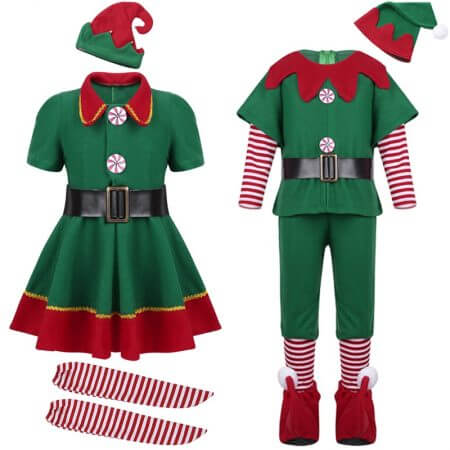 2019 green Elf Girls christmas Costume Festival Santa Clause for Girls New Year chilren clothing Fancy Dress Xmas Party Dress