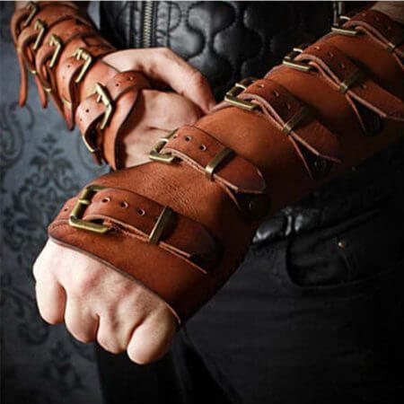 Adult Men Medieval Warrior Larp Knight leather Arm Bracer with Buckle Armor Rivet Steampunk Archer Gauntlet Cosplay Costume Gear
