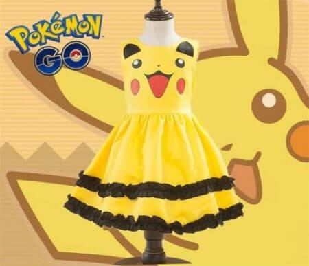 Girls Pikachu costume Cute Ball Gown Dress Kids Child Lovely Dress Costume Anime Cosplay Pokemon Go Costume Birthday Party Dress 1