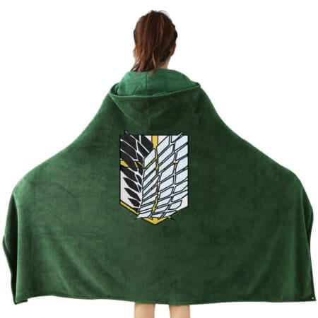Attack on Titan Blanket Cloak Shingeki No Kyojin Survey Corps Cloak Cape Flannel Cosplay Costume Hoodie with real photos 4