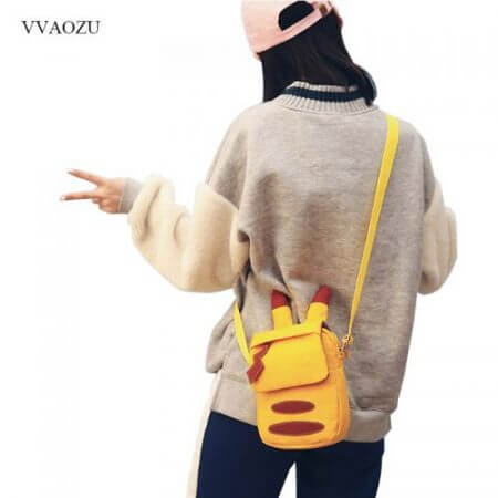 Cartoon Pocket Monster Pokemon Pikachu Messenger Crossbody Bags Women Mini Handbags Shoulder Bag for Girls with Cute Ears Tail 4