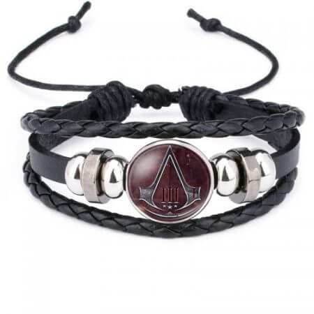 Fashion Assassins Creed Bracelet Time Gem Glass Weaving Leather Bangle Lace-up Generous Simple Jewelry Cute Gifts for Children 2