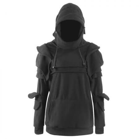 Vintage Medieval Knight Men Hoodies Warrior Soldier Hooded Sweatshirt Male Mask Armor Pullover Cosplay Costume Plus Size Tops 4