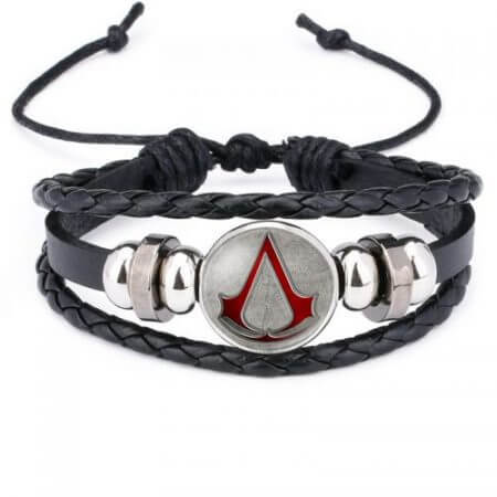 Fashion Assassins Creed Bracelet Time Gem Glass Weaving Leather Bangle Lace-up Generous Simple Jewelry Cute Gifts for Children
