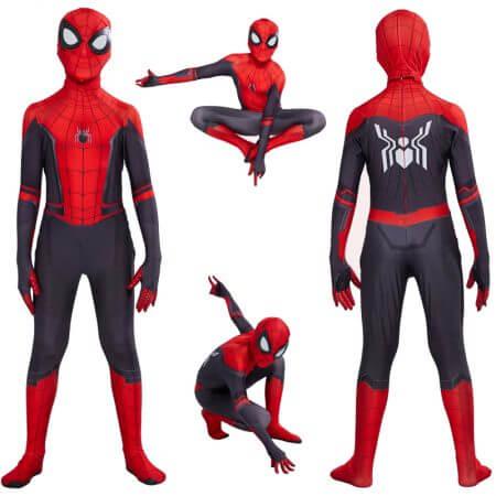 Kids Spider Man Far From Home Peter Parker Cosplay Costume Zentai Spider-Man Superhero Bodysuit Suit Jumpsuits Halloween Costume