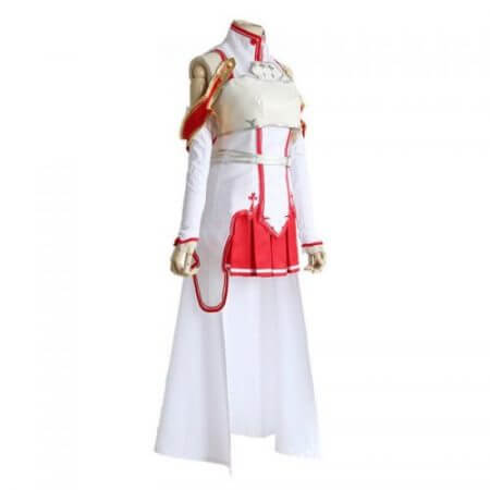 Anime Sword Art Online Asuna Yuuki Dress Cosplay Costumes Uniform for Halloween SAO Asuna Battle Suit Outfits Full Set with Wig 2