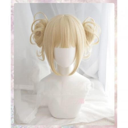 Anime My Boku no Hero Academia Akademia Himiko Toga Short Light Blonde Ponytails Heat Resistant Cosplay Costume Wig+Cap