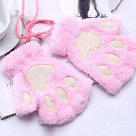 1 Pair Women Girls Lovely Fluffy Bear Cat Plush Paw Claw Half Finger Gloves Mitten Winter Warm Fingerless Gloves Xew 2