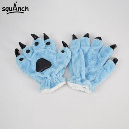 Kigurumi Animal Gloves Paw Dinosaur Bear Cat Finger Claw Winter Windproof Warm Funny Cute Fluffy Halloween Party Performance 3