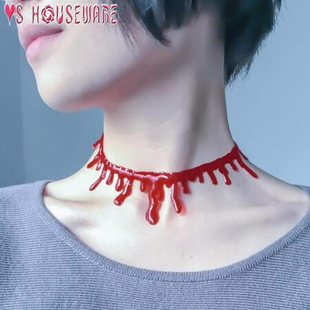 Halloween Decoration Horror Blood Drip Necklace Fake Blood Vampire Fancy Joker Choker Costume Necklaces Party Accessories June12