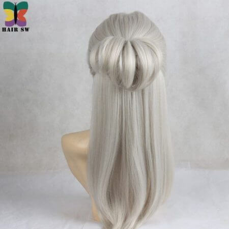 HAIR SW Long Straight Synthetic Hair Game Witcher Cosplay Wigs Silver Gray braid with bun wig For cosplayer 3