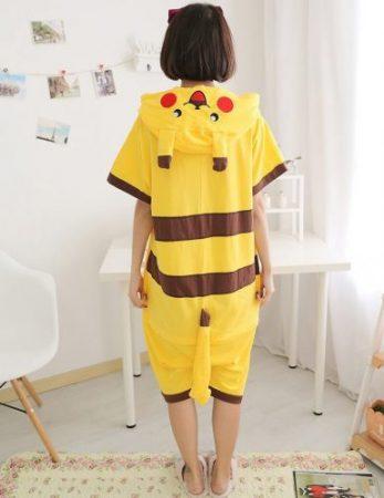 Anime pajamas Pikachu men/women adult kids short sleeve cotton cartoon pajamas summer Unisex Pokemon Cosplay Kigurumi costume 1