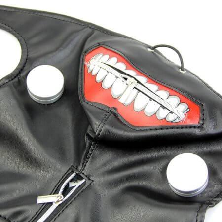 New Tokyo Ghoul Kaneki Ken Adjustable Zipper Faux Leather Mask Cosplay Halloween 4