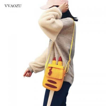 Cartoon Pocket Monster Pokemon Pikachu Messenger Crossbody Bags Women Mini Handbags Shoulder Bag for Girls with Cute Ears Tail 3