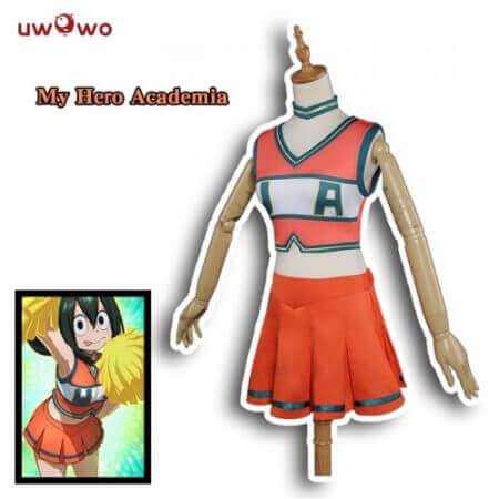 UWOWO Boku No Hero Academia Cosplay My Hero Academia Cosplay Asui Tsuyu OCHAKO URARAKA Cheerleader Uniform Anime Costume Women