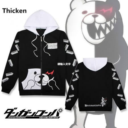 Anime Danganronpa Monokuma Cosplay Costume Unisex Hoodie Sweatshirt Hooded Black White Bear Long Sleeve daily casual coat Jacket 1
