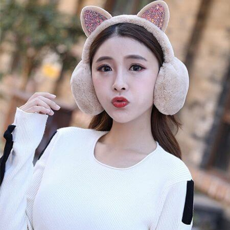Winter Autumn Warm Faux Fur Earmuffs Cute Cat Ear Earflap Plush Earmuff for Girls Ladies Women Hairbands Rhinestone Ear Muffs 4