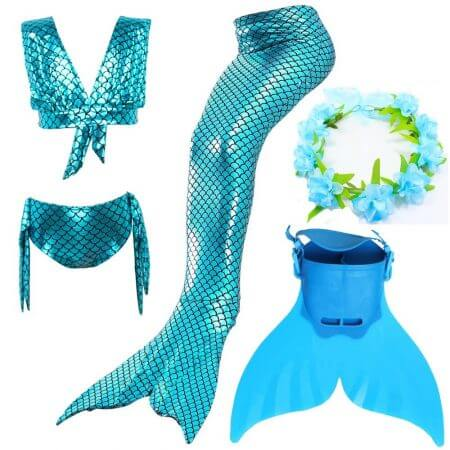 Swimmable Children Mermaid Tails With Monofin Fin Bikinis Set Girls Kids Swimsuit Mermaid Tail Cosplay Costume for Girl Swimming 3