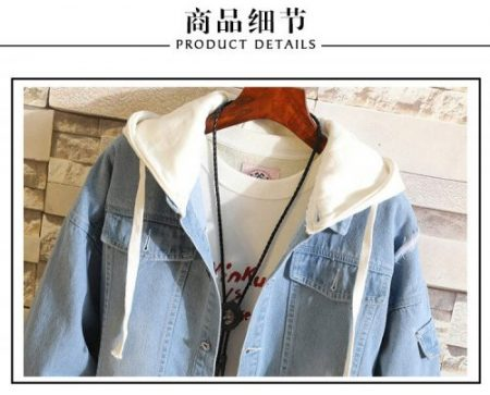 Attack on Titan Wings of Freedom Fake 2 Pieces Casual Jacket Cosplay Denim Jacket Autumn Hooded Sweatshirt Unisex Outwear Coat 5