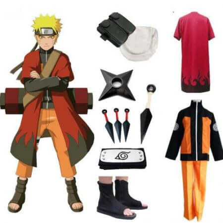 Hot Anime Naruto Cosplay Costumes Shippuden Uzumaki Naruto 2nd Outfit Uniforms Set with Cloaks Props Halloween Party Clothes